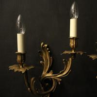 French Pair of Bronze Antique Wall Sconces (2 of 10)