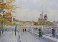 Large Oil on Canvas Notre Dame Artist L Du Bois 1960s (9 of 10)