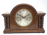 Solid Oak Hat Shaped Mantel Clock 8-day by Hac Westminster Chime (2 of 10)