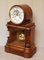Mid Victorian Drumhead Visible Escapement Mantel Clock (5 of 11)