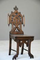 Victorian Gothic Revival Oak Hall Chair (3 of 12)