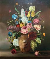 Striking Early 1900s Antique Large Floral Display Oil on Canvas Painting (2 of 12)