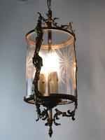 Vintage French Gilt Bronze Three Light Hall Lantern Pendant (4 of 12)