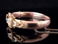 Antique Sapphire and Diamond bangle, 9ct Rose gold (9 of 11)