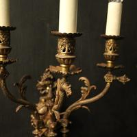 English Pair of Bronze Antique Gasoliers (5 of 10)
