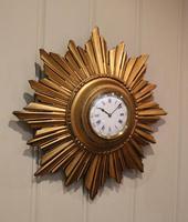 Sunburst Carved Giltwood Wall Clock (2 of 9)