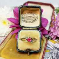 Vintage 18ct Gold Ruby & Diamond Three Stone Bypass Ring (5 of 7)