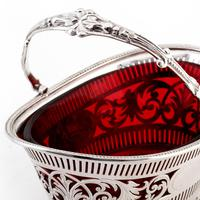 Silver Plated Boat Shaped Silver Basket with Cranberry Glass Liner (7 of 7)