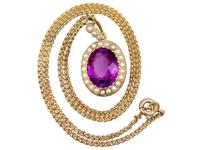 6.56 ct Amethyst and Pearl, 15 ct Yellow Gold Pendant - Antique Circa 1890 (12 of 12)
