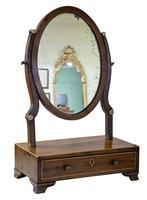 19th Century Mahogany Oval Dressing Table Mirror (3 of 6)