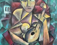 Original 20th Century Continental Abstract Cubism Style Portrait Oil Painting (6 of 11)
