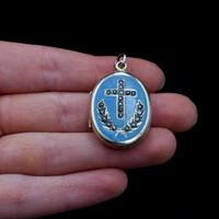 Antique Blue Enamel & Pearl Cross Laurel 9ct Gold Oval Locket Pendant (8 of 9)