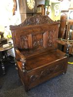 Victorian Antique Green Man Carved Oak Settle / Hall Seat / Monks Bench