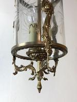 Vintage French Gilt Bronze Three Light Hall Lantern Pendant (11 of 12)