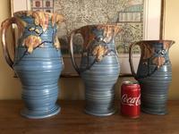 Carlton Ware Embossed Jugs Blue Nightime Oak Pattern c.1935 (8 of 11)