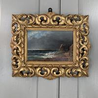 Antique oil painting seascape coastal scene of St Owens Ouens Bay Jersey (2 of 10)