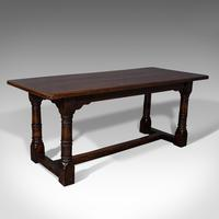 Antique Refectory Table, English, Oak, 6 Seat, Dining, Kitchen, Victorian c.1880