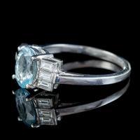 Art Deco Aquamarine Diamond Ring Platinum 1.50ct Aqua c.1930 (6 of 7)