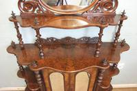 Antique Victorian Burr Walnut Display Whatnot Side Cabinet (4 of 13)