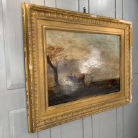 Antique large Georgian landscape oil painting study of cows (3 of 9)