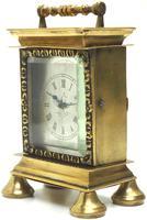 Rare Little Verge Carriage Clock Timepiece, Ormolu cased Silver Dial Mantel Clock (3 of 9)