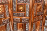 Antique Indian Folding Screen Inlaid Room Divider c.1920 (2 of 6)