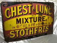 Large Rare Medicine Chemist Stotherts Atherton Chest & Lung Mixture Enamel Sign (21 of 21)