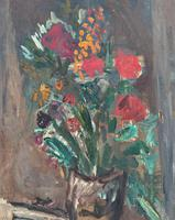Large Rustic 19th Century French Impressionist Still Life Floral Oil Painting - Minor TLC (7 of 12)