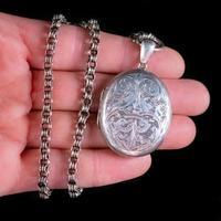 Antique Victorian Locket Collar Necklace Silver c.1880 (6 of 8)