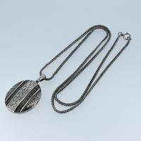 Antique Aesthetic Large Sterling Silver Locket with Long Curb Chain Necklace (6 of 11)