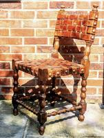 Antique Wood Riveted Woven Leather Seat Chair 19th Century (2 of 5)
