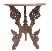 Burmese Side Table Antique Carved Burma Furniture (6 of 11)