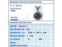 2.35ct Sapphire & 0.32ct Diamond, Platinum Cluster Pendant - Vintage c.1970 (7 of 9)