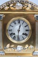 French Belle Epoque Brass & Silver Gilt Mantel Clock (2 of 9)