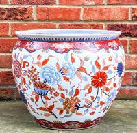 Large Late 19th Century Imari Guangxu Porcelain Fish Bowl