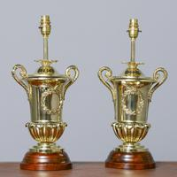 Victorian Pair of Urn Shape Cast Brass Lamps (2 of 10)