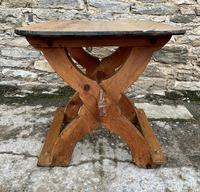 Antique Swedish Pine X-frame Trestle Table (12 of 21)