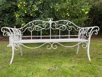Large French Art Deco Style Fleur De Lis Garden Double Bowed  Curved Bench Seats 3 (2 of 37)
