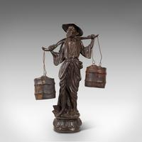 Tall Antique Decorative Figure, Chinese, Bronze, Statue, Water Carrier, C.1900 (4 of 12)