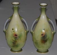 Stunning Pair of Royal Worcester Two Handled Vases by George Cole 1903 and 1906 (2 of 13)