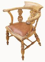 Lovely Victorian Captains Desk Chair in Beech (4 of 5)