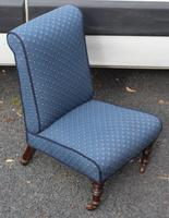 1940's Mahogany Framed Blue Spot Upholstered Nursing Chair (2 of 3)