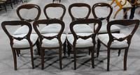 1960s Set 8 Mahogany Balloon Back Dining Chairs in Pale Upholstery (2 of 3)