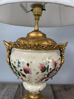 Victorian Gilded Spelter & Ceramic Table Lamp, Rewired & Pat Tested, Shade Included (6 of 10)