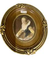 French Signed Portrait Miniature in Wood & Brass Frame c.1925 (3 of 8)