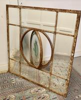 Large 19th Century Industrial Window Mirror with Central Leaded Bottle Glass Opening (3 of 8)