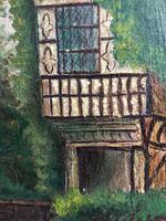 Edwardian Oil Painting Historical Tudor House Little Moreton Hall Congleton (7 of 12)