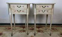 Vintage French Shabby Chic Kidney Shaped Floral Bedside Cabinets (5 of 8)