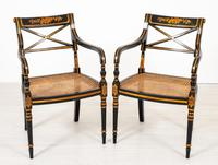 Pair of Ebonised Regency Style Open Armchairs (9 of 9)
