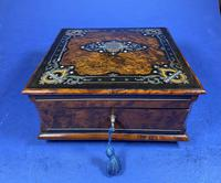 Victorian  French Burr Cedar Jewellery Box with ebonised fruitwood and original interior (5 of 13)